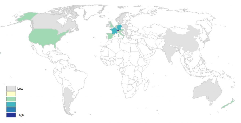 Namensverteilung Morgenthaler weltweit
