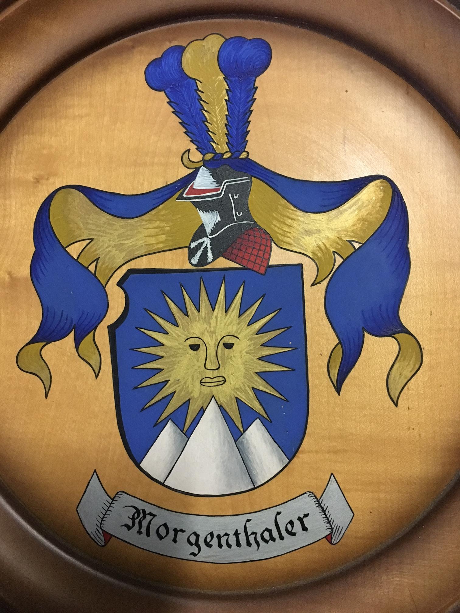 Morgenthaler-Wappen auf Holz / Morgenthaler enblem on wood